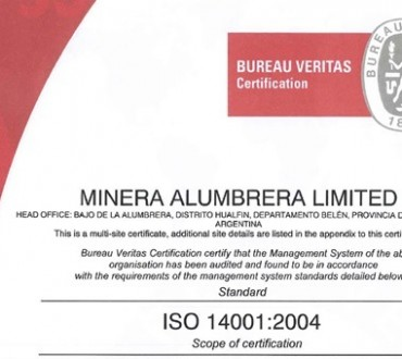 Minera Alumbrera recertificó la Norma ISO 14.001
