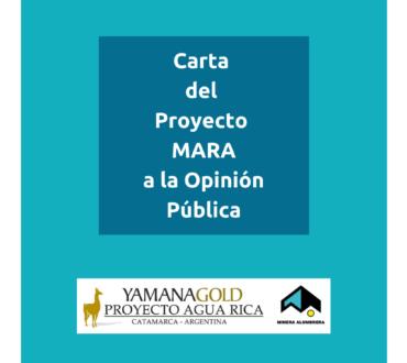 Carta del Proyecto MARA a la opinión pública